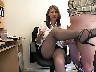 Amateur Handjob Legs  Office Secretary Stockings
