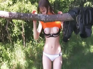 Cute Outdoor Skinny Teen Forest