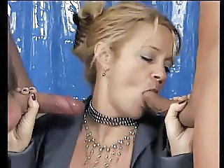 Blowjob Cumshot European German Mature Threesome German