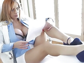 Amazing Big Tits Glasses Legs  Office Pornstar Secretary Silicone Tits