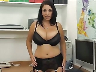 Big Tits British European Lingerie  Office Pornstar Stockings