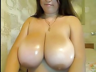 Big Tits  Natural Oiled Webcam Huge Bathroom
