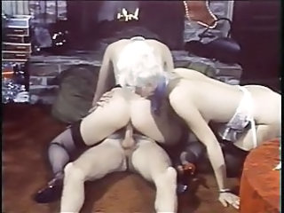 Blonde  Pornstar Riding Stockings Threesome Vintage