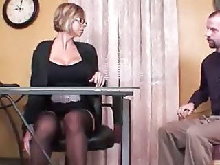 Big Tits Glasses  Secretary Silicone Tits Stockings Footjob