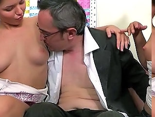 Daddy Old and Young Teacher Teen Threesome