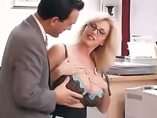 Big Tits Glasses Lingerie  Natural Office Pornstar Secretary Boss