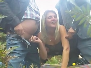 Amateur Clothed Handjob  Outdoor Small cock Threesome