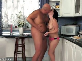 Daddy Daughter Handjob Kitchen Old and Young Small cock Teen Boyfriend