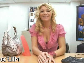 Blonde Casting  Office Stripper