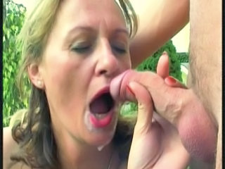 Cumshot European Mature Outdoor Outdoor
