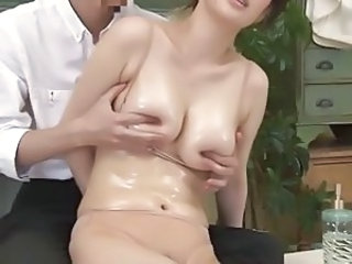 Asian  Natural Nipples Oiled