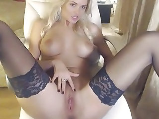 Cute European Masturbating  Stockings