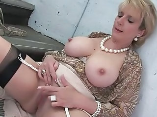 Big Tits Mature  Stockings Flashing
