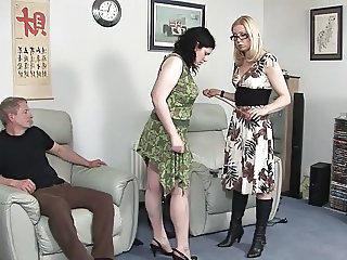 European Glasses  Spanking Threesome Niece