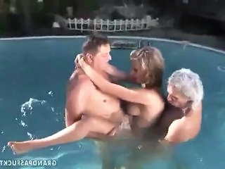 Daddy Old and Young Outdoor Pool Teen Threesome