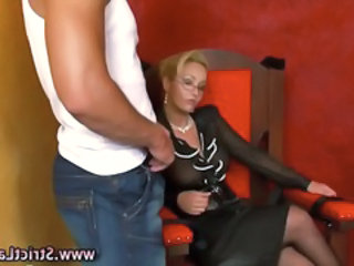 Big Tits European Femdom Glasses  Slave Smoking