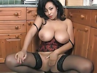 Amazing Big Tits Kitchen Masturbating  Natural Pornstar Stockings