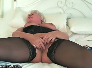 Chubby Clit European Granny Stockings Grandma