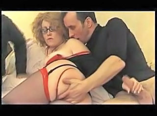 European French Glasses Mature Stockings Threesome French