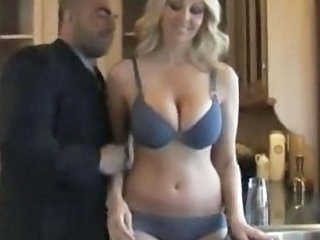 Big Tits Kitchen Lingerie  Natural Wife