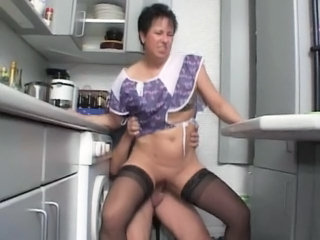Kitchen Mature Mom Old and Young Riding Stockings German