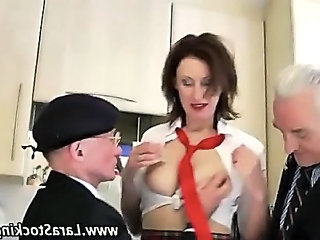 Daddy  Old and Young Student Threesome Uniform Dirty Schoolgirl