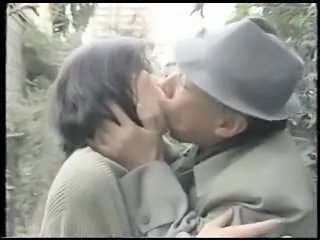 Asian Daddy Japanese Kissing Old and Young Outdoor Vintage Wife
