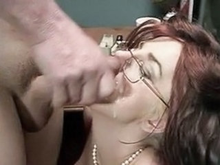 Cumshot Facial Glasses Mature Redhead Secretary