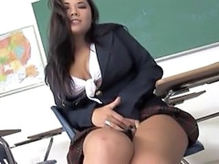 Asian Babe Pornstar School Student Uniform Stockings