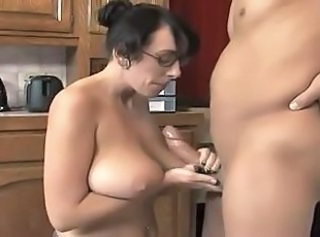Big Tits Glasses Handjob Kitchen  Mom Natural
