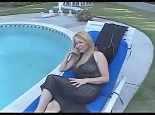 Mature Mom Old and Young Outdoor Pool