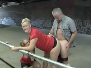 Clothed Doggystyle European German Mature Older Threesome
