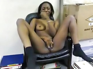 Amateur Ebony Masturbating Office Teen African