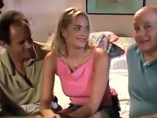 Cute Daddy Old and Young Teen Threesome