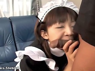 Asian Blowjob Clothed Maid Small cock Teen Uniform