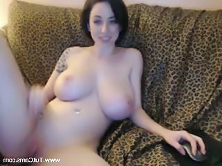 Amazing Big Tits  Natural Pussy Shaved Solo Webcam