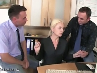 Blowjob Mature Office Threesome