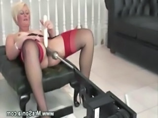 Machine Masturbating Mature Mom Solo Stockings Toy