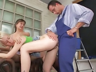 Clothed Daddy Doggystyle Hardcore Old and Young Teen Threesome