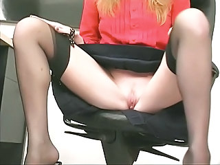 Office Pussy Secretary Shaved Stockings Upskirt