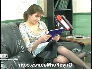 Mature Mom Office Old and Young Secretary Stockings