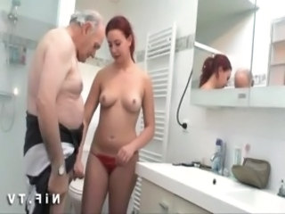 Bathroom Daddy Daughter Old and Young Teen French