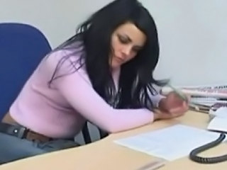 Babe Brunette Office Russian Secretary Boss