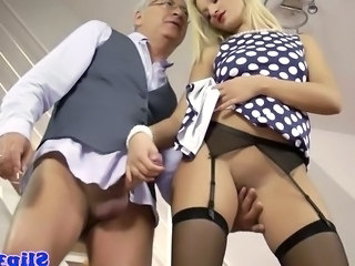Blonde British Daddy European Handjob  Old and Young Stockings British