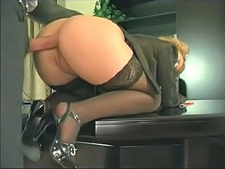 Anal Doggystyle Clothed Blonde Hardcore Office Stockings Blonde Anal Stockings