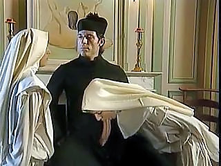 Nun Blowjob Clothed Threesome