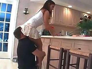 Kitchen Clothed Facesitting Licking Skirt