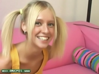 Blonde Casting Pigtail Teen