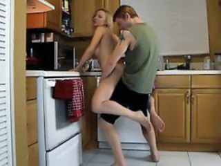 Blonde Hardcore Kitchen Mom Old and Young Son