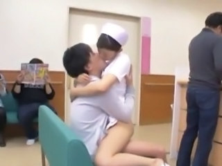 Asian Kissing Nurse Public Uniform